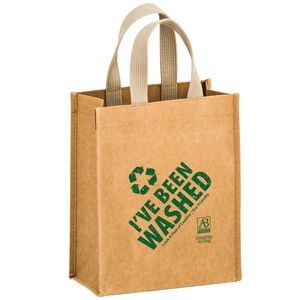 "CYCLONE - Washable Kraft Paper Tote Bag w/ Web Handle (8""x4""x10"") - SP"