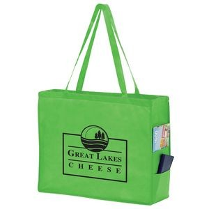 "Side Pocket Non-Woven Tote Bag (20""x6""x16"") - Screen Print"