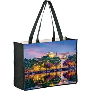 "Full Coverage OPP Laminated Non-Woven Tote Bag w/ Full Color (16""x6""x12"") - Sublimated"